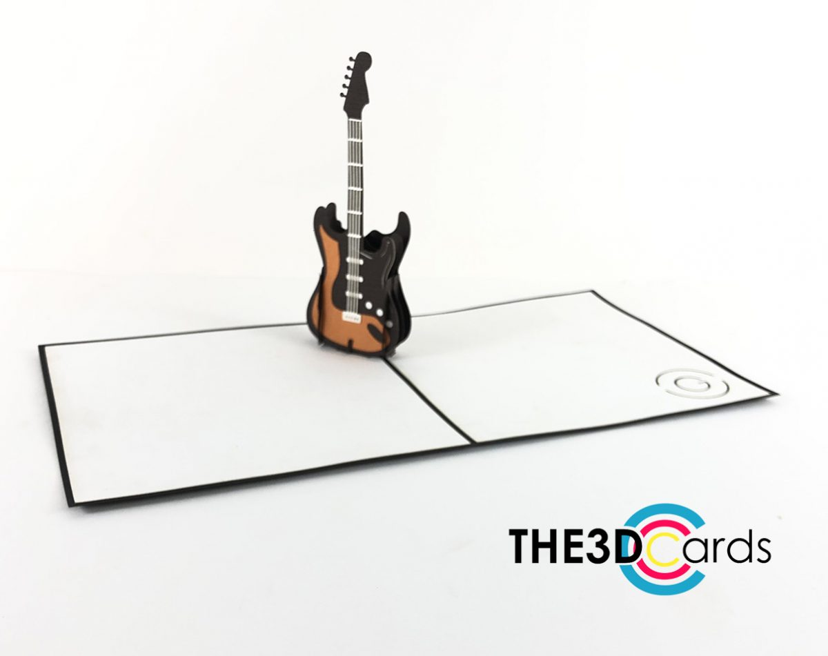 electric guitar pop up cards