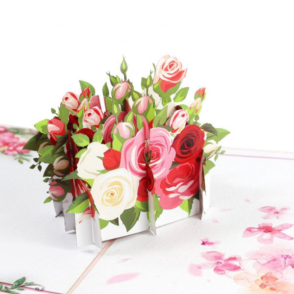 Pink Rose Flower Pop Up Card