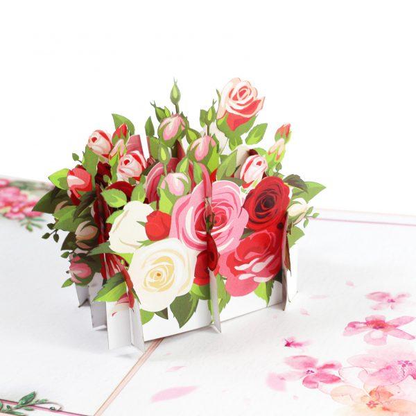 Pink Rose Flower Pop Up Card