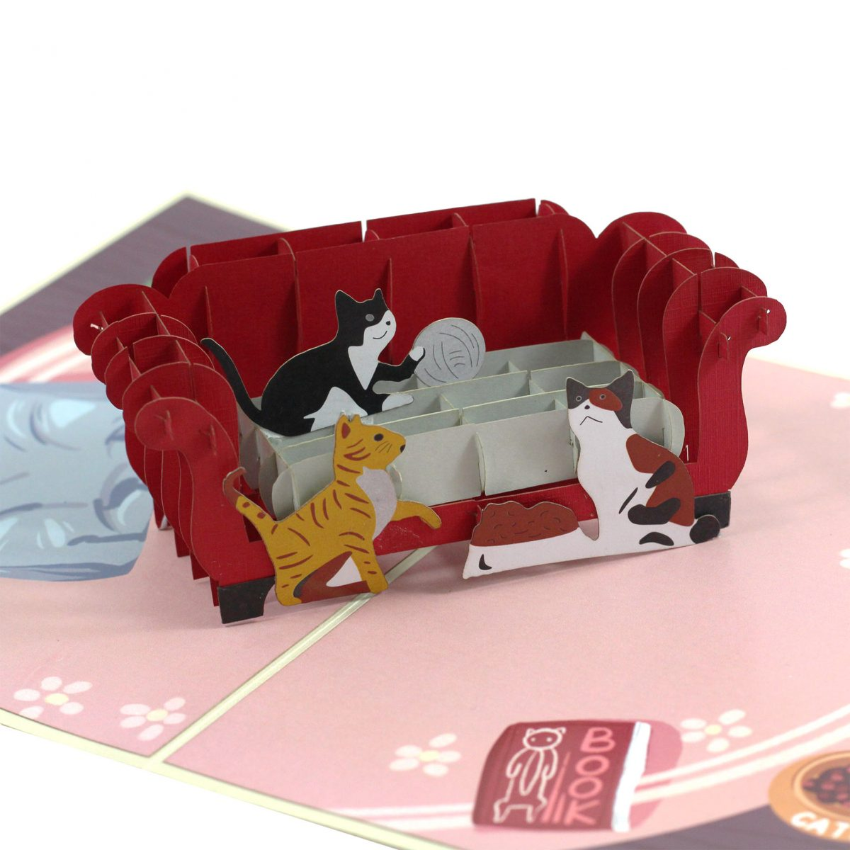 Cats On Sofa Pop Up Card